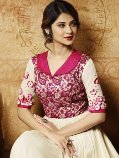 Off White Georgette and Silk Anarkali Suit
