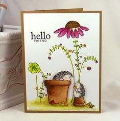 Cute Penny Black hedgehog card with extra flowers