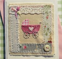 NEW BABY CARD, for a girl, hand-stitched, designed/made by Helen Drewett in UK