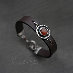 nice A Drop Of The Heat | LEATHER Bracelet With Silver And Carnelian