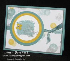 Lots and Lots of Circles and Dots! Moonlight Designer Series Paper Stack, Work of Art Stampin Up Stamp Set, Satin Stitched Ribbon, Itty Bitty Punch Pack, Rhinestones, Circles Framelits, Big Shot,  www.LaurasStampPad.com