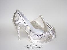 scarpe da sposa gioiello - open toe platform in raso seta avorio, con Swarovski Cry hotfix  www.andreaiommi.it
