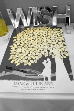 tree poster with notes on leaves | the typical guest book and consider a poster like this custom tree ...