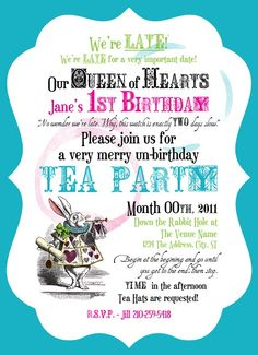 61 best mad hatter unbirthday party images on pinterest mad alice in wonderland invitations find this pin and more on mad hatter unbirthday party stopboris Gallery