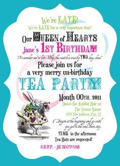 Alice in Wonderland Invite Mad Hatter Tea Party Invitation Digital