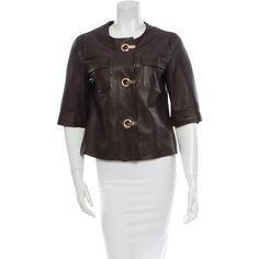 Pre-owned Michael Kors Leather Jacket ($295) ❤ liked on Polyvore featuring outerwear, jackets, brown, michael kors jackets, black leather jacket, genuine leather jacket, 100 leather jacket and black jacket