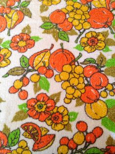 Vintage Citrus Terry Cloth Tablecloth by ArtDecoDame on Etsy