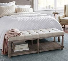 Declan Entry Bench, Weathered Dutch White