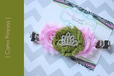Baby Headband Camo Princess Headband Pink by MudpiesandPigtails, $10.95