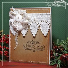 love this gorgeous, shabby vintage Christmas card. Cas Christmas Cards, Christmas Card Pictures, Christmas Card Crafts, Homemade Christmas Cards, Vintage Christmas Cards, Handmade Christmas, Homemade Cards, Holiday Cards, Cool Cards