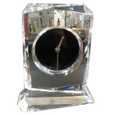 MID CENTURY CARVED ANGLED LUCITE DESK CLOCK W BLACK FACE & SILVER HANDS