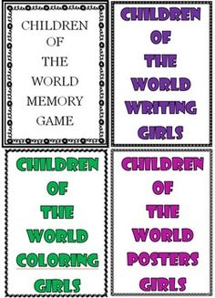 All togather there are 24 A4 size Children of the World girl posters. 24 picture cards Children of the World girl memory game 24 picture cards Children of the World girl writing 24 A4 size Children of the World girl colring The countries are: America, Italy, Thailand, Peru, Scotland, Spain, Japan, Greece, Finland, Mexico, Korea, Holland, Arctic.