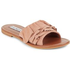 Steve Madden Getdown Suede Slide Sandals ($35) ❤ liked on Polyvore featuring shoes, sandals, open toe sandals, suede slip on shoes, cushioned sandals, suede shoes and cushioned shoes