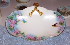 Limoges Hand Painted Birds and Roses Nappy