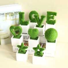 2017 2016 Hot Sale Pentagram Style The Simulation Of Pot Creative L O V E Words Green Bonsai Plants Office Plants Decorations 105 From Rainbow_home, $8.65 | Dhgate.Com