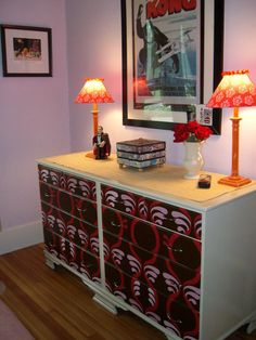 repainted and used wallpaper on the drawers