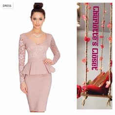 Gorgeous Spring Taupe Formal Lace peplum Dress New Women spring Party or formal Dress Elegant Knee Length Peplum Bodycon Office Dress / Long Sleeve. Material; polyester, spandex, lace . A must have Size 4 that will flatter your body. Dresses Long Sleeve