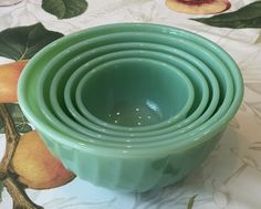 Fire King Jadeite *Complete* 5 Piece Swirl Pattern Mixing Bowl Set ~ Small Bowl