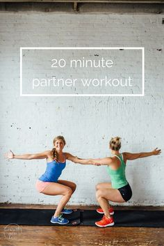 Buddy up for these 8 bodyweight exercises you can do with a friend! It's a total body, 20 minute workout including partner planks, squats, dips and crunches! The perfect travel workout or hotel room workout too because you don't need any equipment! Hiit, Cardio, Workout Bodyweight, Workout Plans, Workout Fitness, Workout Routines, Couples Workout Routine, Partner Yoga, Workout Partner