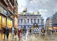 Antoine Blanchard  (1910 - 1988)  Avenue de l'Opéra  Oil on canvas