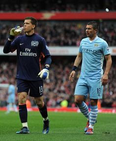 """Can't confirm, but apparently somebody through a beer at Szczęsny earlier - so he picked it up and drank it."""