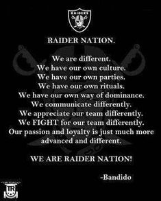 Discover and share Funny Raiders Quotes. Explore our collection of motivational and famous quotes by authors you know and love. Oakland Raiders Shoes, Oakland Raiders Images, Oakland Raiders Football, Raiders Stuff, Raiders Girl, Raiders Wallpaper, America's Most Wanted, Football Conference, Football Memes