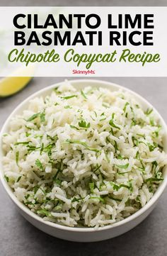 We love copycat recipes like this healthier version of Chipotle's Cilantro Lime Basmati Rice. You'll never wait in line for takeout again! Mexican Food Recipes, Vegetarian Recipes, Cooking Recipes, Healthy Recipes, Fondue Recipes, Vegan Vegetarian, Appetizer Recipes, Appetizers, Chipotle Copycat Recipes