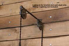 Industrial Pulley Wall Sconce for your Trouble Light Pendant - Trouble Light Fixture not included by IndustrialRewind on Etsy https://www.etsy.com/uk/listing/150524018/industrial-pulley-wall-sconce-for-your