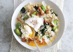 Spring Vegetable Risotto with Poached Eggs - Bon Appétit
