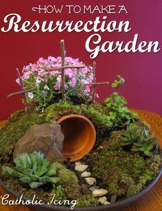Step by step directions with pictures on how to make a Resurrection Garden. This version is fast, easy, cheap, and looks nice right away- no waiting for grass to sprout!