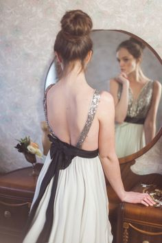 Silver Sequinned Backless Dress