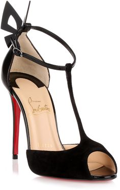 Black suede and nappa leather sandal from Christian Louboutin. The Aribak has a fully covered stiletto heel, an adjustable ankle strap, and a perspex butterfly at the back. Black High Heel Sandals, Black Suede Shoes, Ankle Strap High Heels, Ankle Wrap Sandals, Suede Sandals, Stiletto Heels, Strap Sandals, Shoes Sandals, Heeled Sandals