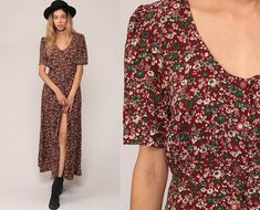 Long Floral Dress 90s Maxi Grunge Button Up Red Green Boho