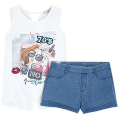 Graphic tank top and shorts