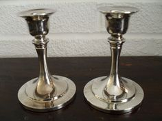 Silver Plate Candle Holder Pair Candlestick Pair by PassItOn2013