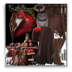 """Chocolate"" by marionmeyer on Polyvore featuring Mode, Lodis, Rick Owens, Valentino, LE VIAN, Giambattista Valli, Bobbi Brown Cosmetics, Christian Dior und chocolate"