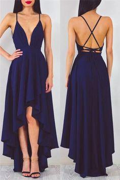 v neck high low navy blue prom dress, 2018 navy blue long prom dress, high low long chiffon prom dress party dress