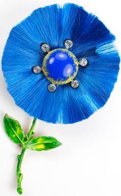Hattie Carnegie Giant Blue 'Silk' Flower Pin