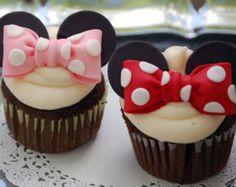 Fondant comestible Minnie Mouse inspiré boucles d'oreilles Cupcake Toppers