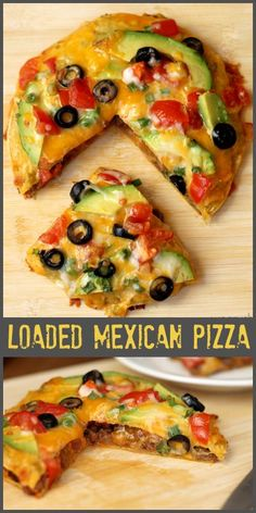 Loaded Mexican Pizza - Tortillas stuffed with seasoned meat, cheese, beans are topped with MORE cheese and your favorite toppings. A family favorite for sure! Mexican Pizza, Mexican Dishes, Mexican Food Recipes, I Love Food, Good Food, Yummy Food, Tasty, Pizza Recipes, Beef Recipes