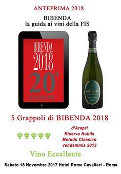 Assegnati a #dAraprì #RiservaNobile 2013 i #5Grappoli da #BIBENDA 2018 la Grande Guida ai Vini eccellenti d'Italia della F.I.S. (Fondazione Italiana Sommelier). http://www.darapri.it/anteprima-bibenda-2018/