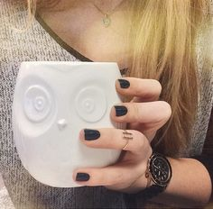 Cutest owl mug ever! Nails are Julep Josephine.