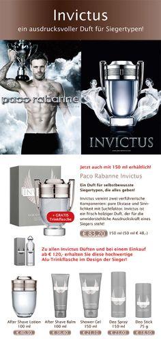 #Paco #Rabanne #Invictus - der Duft der Sieger. JETZT inkl. GRATIS Sport-Trinkflasche im Invictus-Design.