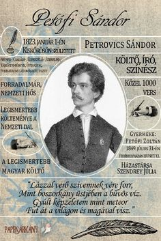 Petőfi Sándor Flower Aesthetic, Budapest Hungary, Great Books, Kids And Parenting, Famous People, Infographic, Homeschool, Writer, Knowledge