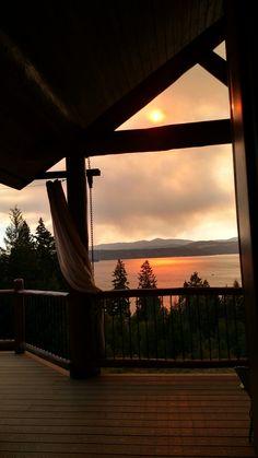 Sunset through smoke. Lake CoeurdAlene