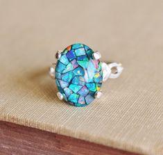 SALE GENUINE Australian Opal Ring,Mosaic Opal Ring,Sterling Silver,Opal Jewelry,Birthstone,Gift for Her,Blue Opal,Gemstone Ring,OOAK
