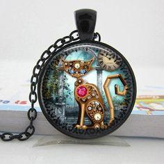 Steampunk Cat Clock Necklace