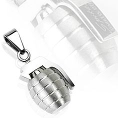 Spikes 316L Stainless Steel Hand Grenade Solid Pendant | Body Candy Body Jewelry