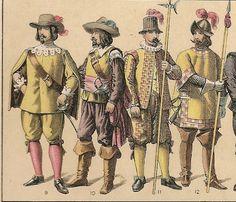 TRAJES Y ARMAS ( SIGLO XVII ) DE LA HISTORIA DE ESPAÑA.- 1600 A 1650.-- nº 9.- .- Oficial de Guardias.- nº 10.- Oficialmde infanteria.-  Alabardero.- nº 12.- Piquero.