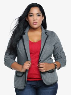 With black knit trim, this grey terry knit blazer goes over just about anything for instant polish and style. Perfect for the desk, dinner and beyond. Plus Size Fashion For Women, Curvy Women Fashion, Plus Size Womens Clothing, New Years Eve Dresses, Knit Blazer, African Print Fashion, Work Attire, Torrid, Cute Outfits